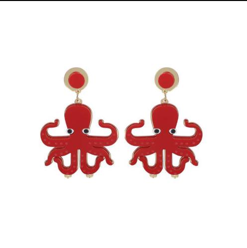 Boucles d'oreilles Hank The Octopus! , Rockabilly , Pin-Up , Vintage