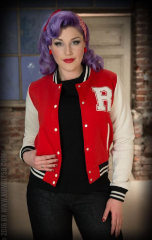 Ladies Sweat College Jacket - rouge