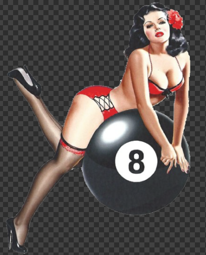 Sticker Pin-Up Rétro Eight Ball