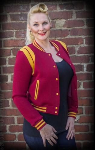 Ladies Sweat College Jacket - Bordeaux / Moutarde