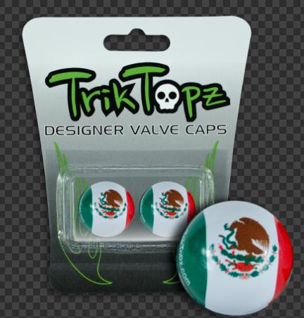 """Bouchons de valve Trik Topz """" Drapeau Mexique """""""