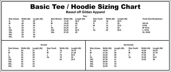HV^Z Studios Merch Basic Tee /  Hoodie Sizing Chart