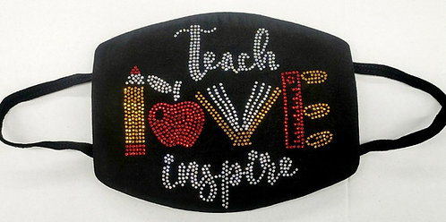 TEACH LOVE INSPIRE RHINESTONE MASK