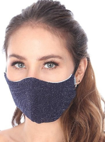 NAVY SHIMMER FASHION MASK