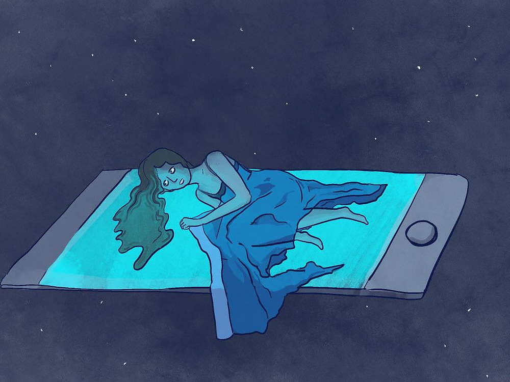 A young woman lays on an oversized floating phone as if it were her bed. She stares at the emanating blue light from the phone's screen.