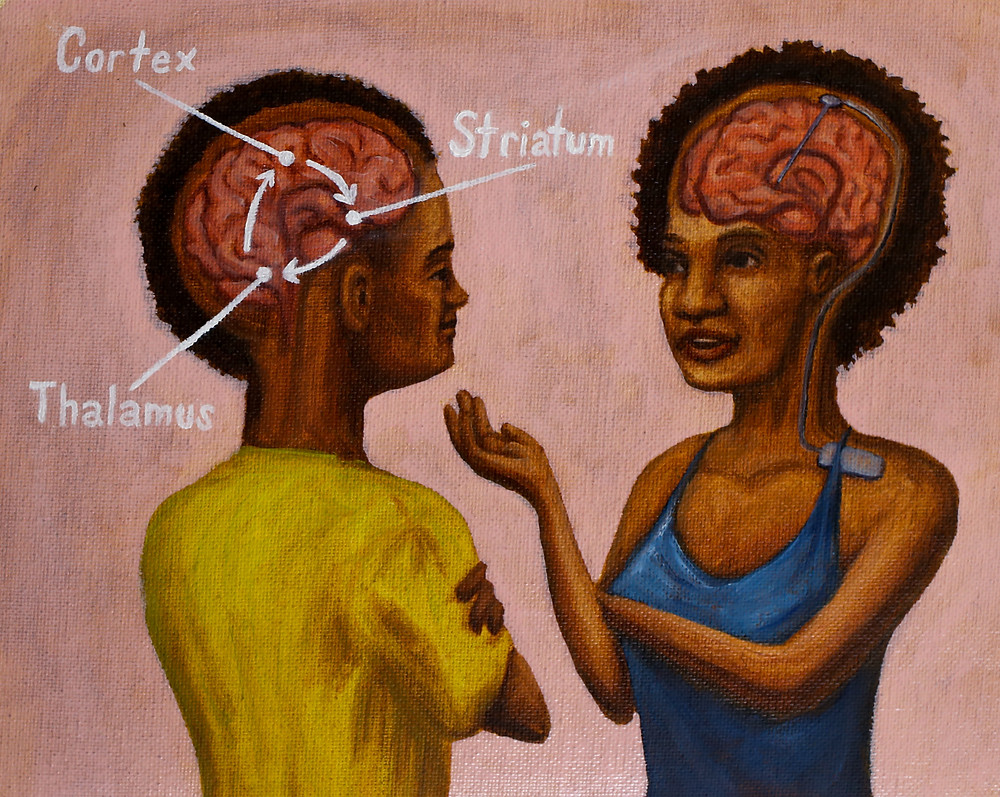 A painting of two people conversing. Their brains are visible as if we're looking through their skulls. The person on the left has a circular diagram on their brain of the pathway from the cortex to the striatum to the thalamus back to the cortex. The person on the right has a Deep Brain Stimulation electrode implanted in their brain with a wire leading to a pulse stimulator in their chest.