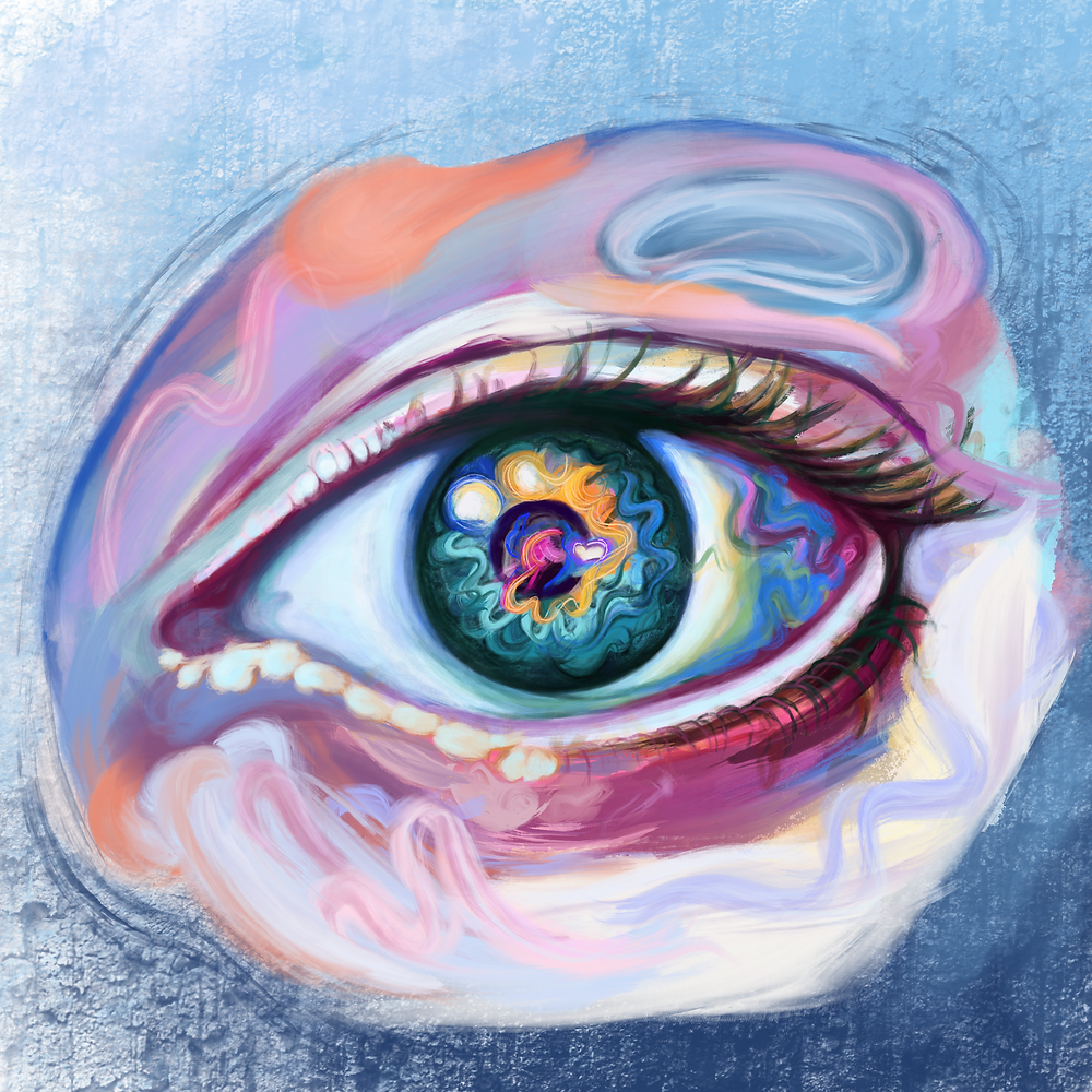 The eye is a crucial organ in processing visual information; the receptor cells within the retina transmit this information to the visual cortex, which puts the brushstrokes together into a whole painting in the mind. Color plays a significant role in emotional response to art, from the hue, saturation, and brightness combined with the viewer's personal background.