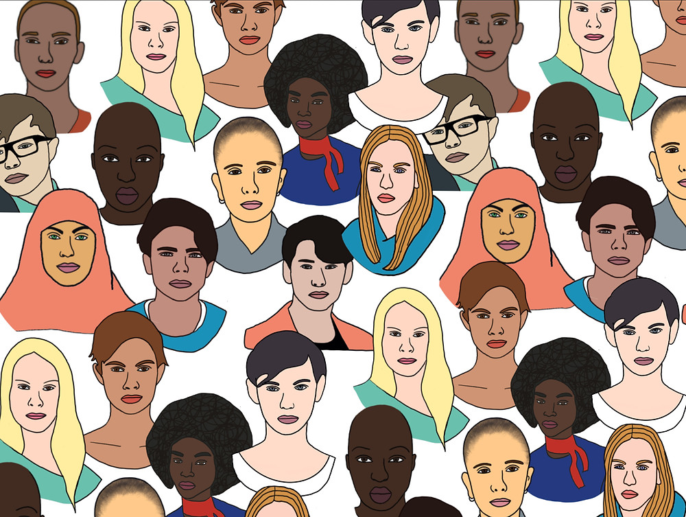 A panel of assorted faces representing the diversity among those who may experience menstruation