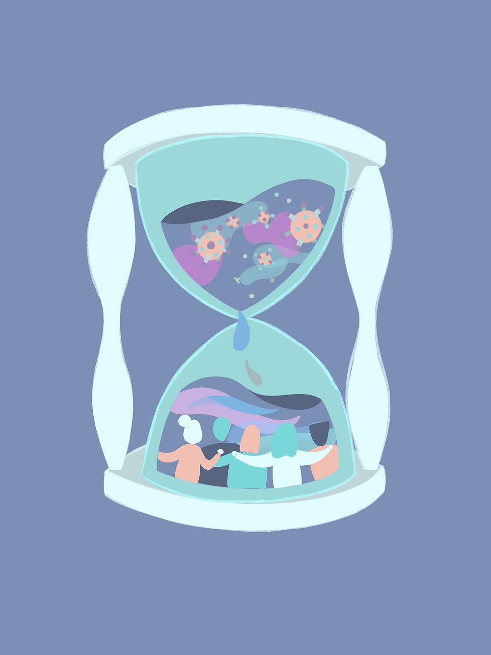 In this hourglass, the sand in the upper half is filled with COVID viruses while the bottom half is filled with happiness and rejoice.