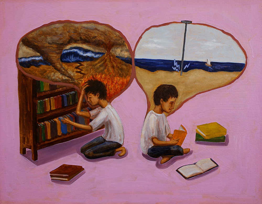 A painting of one person in two different positions. On the left, the person is holding their head in discomfort in front of a bookshelf. Above their head is a large brain silhouette filled with images of tumultuous weather. On the right, the person is reading a book serenely. Above their head is a large brain silhouette filled with an image of a calm beach with a Deep Brain Stimulation electrode implanted in the middle.