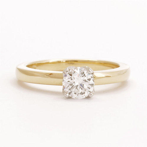 18ct Yellow Gold and Platinum Solitaire Diamond Ring