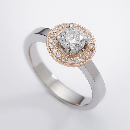 18ct White & Rose Gold Diamond Halo Engagement Ring