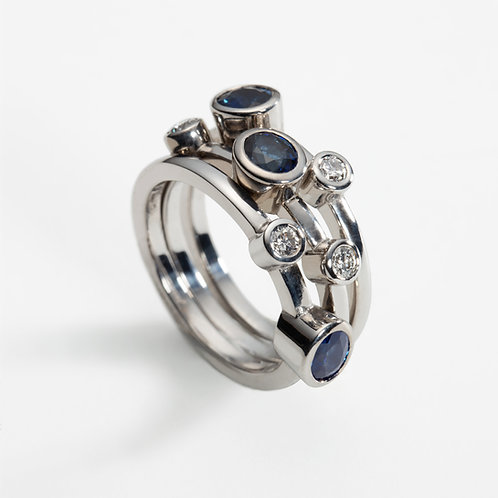 18ct white gold trio of rings with sapphire and diamond