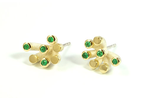 Blossom Earstuds Silver,18ct Yellow Gold and Emerald