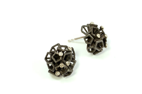Scion Earstuds in oxidised silver and diamond