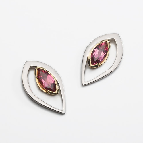 Duille Nua Dewdrop 18ct white gold earrings with pink tourmalines