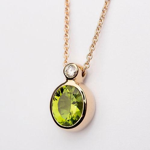 Peridot and diamond pendant in 9ct Yellow Gold