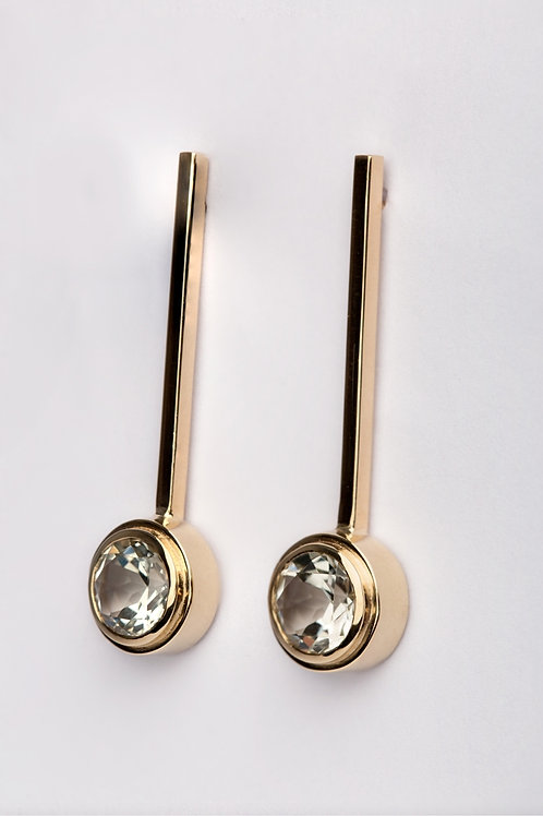 Mint Quartz 9ct Yellow Gold Earrings