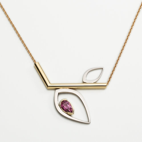 Duille Nua Dewdrop 18ct yellow and white gold necklace with pink tourmaline