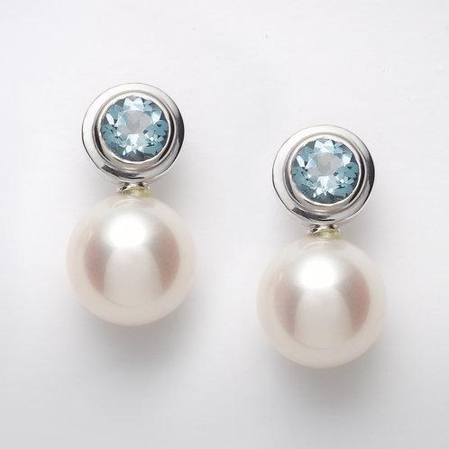 18ct white gold aquamarine pearl earrings