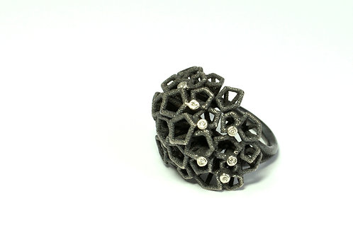 Forest Stars Ring oxidised silver and Diamond Ring