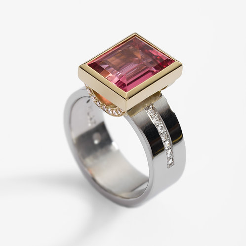 Platinum dress ring with pink tourmaline