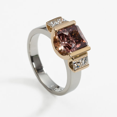 Platinum and rose gold dress ring with zircon and diamonds