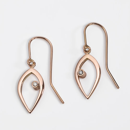 Duille Nua Dewdrop 9ct rose gold diamond earrings