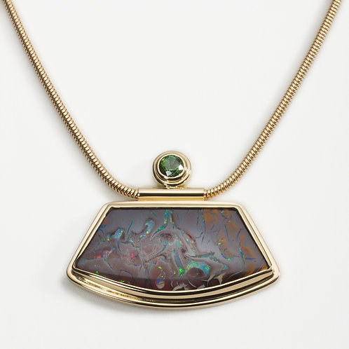 18ct yellow gold pendant with Australian boulder opal and tourmaline