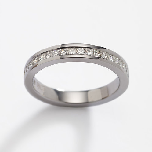 18ct white gold diamond channel wedding ring