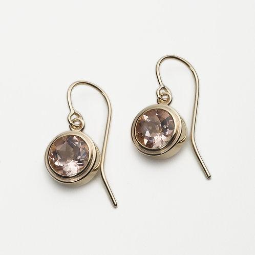 9ct yellow gold morganite earrings
