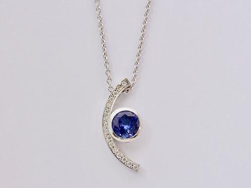 Tanzanite and Diamond Crescent 18ct White Gold Pendant