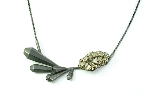 'From the beginning' silver necklace and pyrite