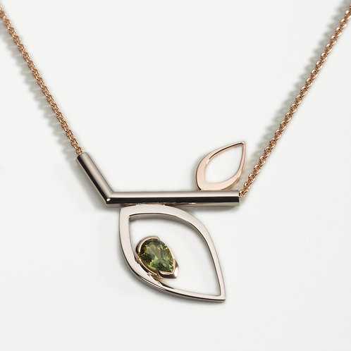 Duille Nua Dewdrop 18ct white and rose gold necklace with green tourmaline