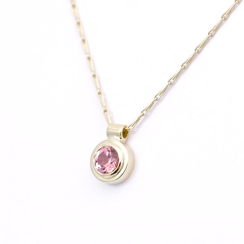 18ct yellow gold pendant with pink tourmaline