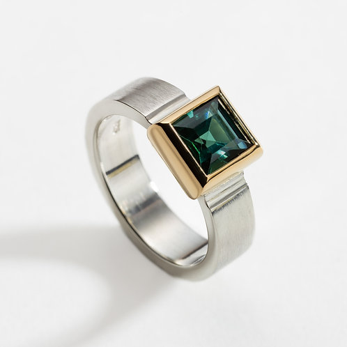 Silver Ring with Blue/Green Tourmaline in an 18ct Yellow Gold setting
