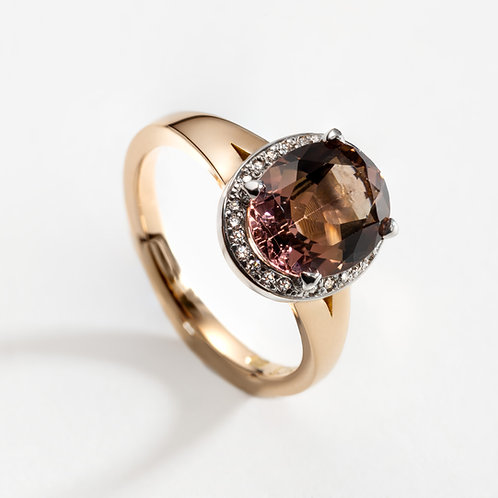 18ct Rose Gold Halo Ring with Oval Pink Tourmaline