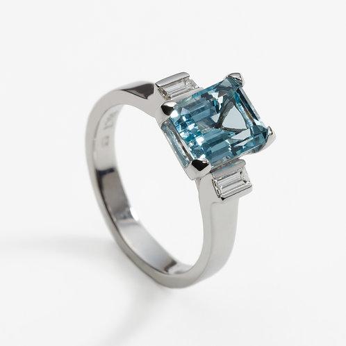 18ct white gold aquamarine diamond engagement ring
