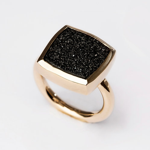 Druzy Quartz 9ct Yellow Gold Ring