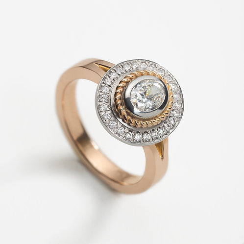 18ct Rose Gold & Platinum 0.50ct Oval Diamond Halo Ring
