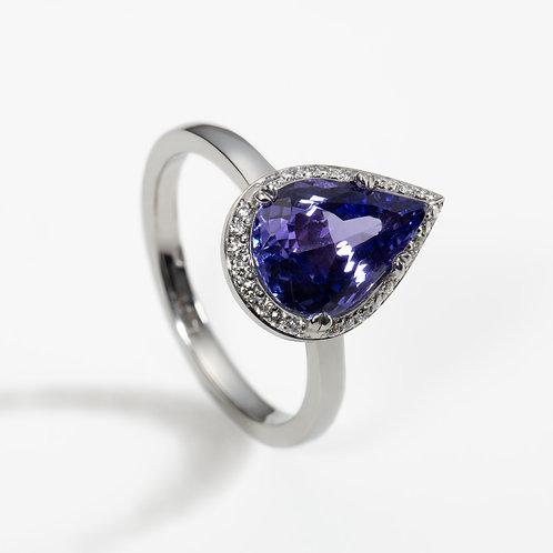 Tanzanite and Diamond Halo Ring
