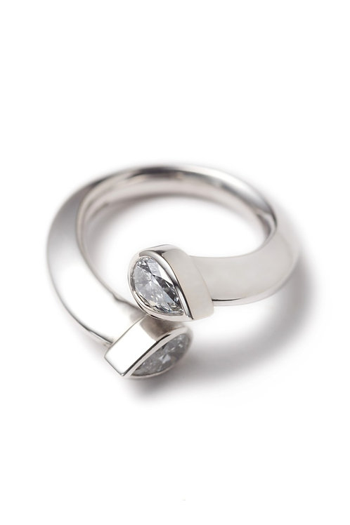 18ct White Gold Engagement Ring with Pear Cut Diamonds