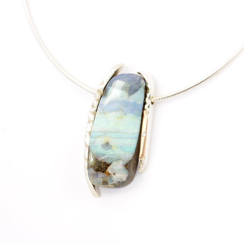 Boulder opal necklace with diamond, silver and rose gold