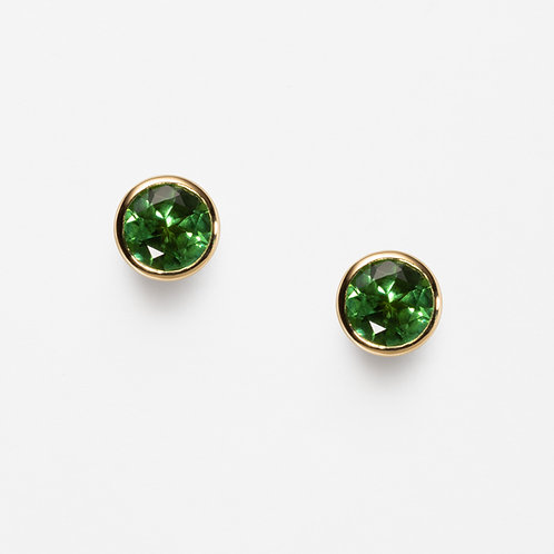 18ct Yellow Gold Stud earrings with Green Tourmaline