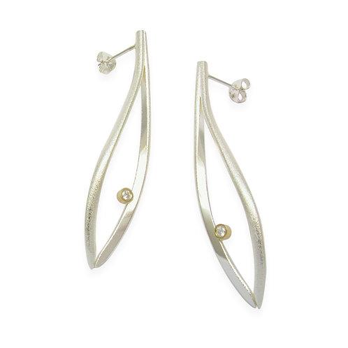 Konifer large silver earrings