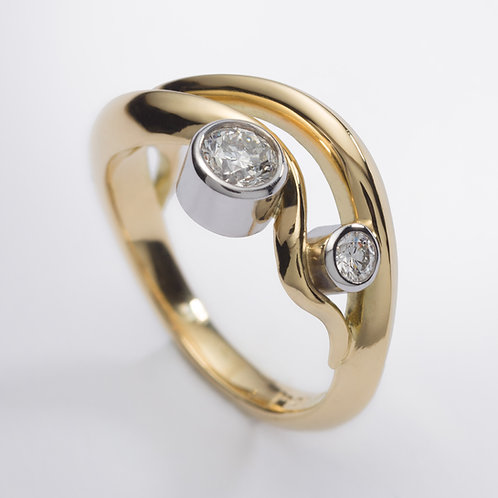 18ct Yellow Gold Wave Engagement Ring with Diamonds