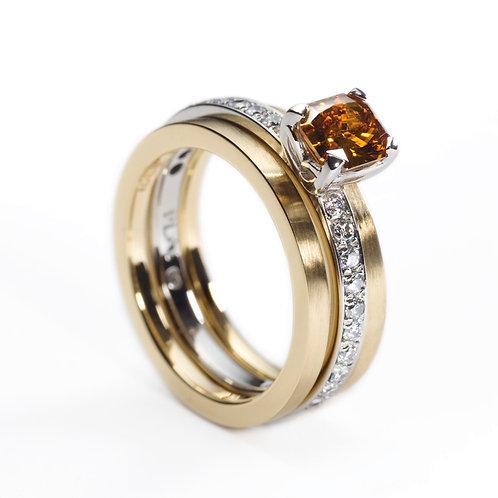 Platinum Engagement Ring with Fancy Cognac Diamond