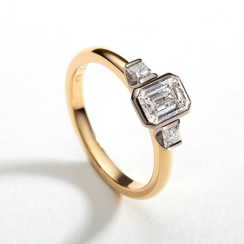 18ct gold Brannock emerald cut engagement ring