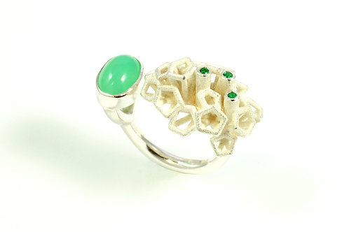 Scion Green Ring, Chrysophase, Emerald, Silver