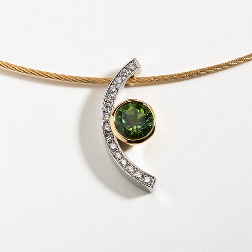 18ct Gold Pendant with Green Tourmaline and Pavé set Diamonds